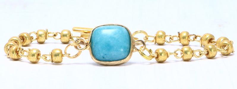 Armband mit Edelsteinarmbandverbinder und Rocailles türkis