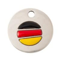 Metallanhänger Deutschland, 15 mm, versilbert, Motiv emailliert