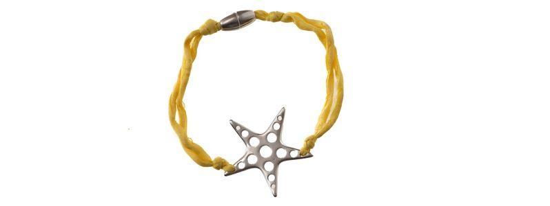 Seiden-Armband Gelb Stern