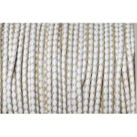 Geflochtene Baumwollkordel, 3 mm, hellbraun/weiß, Länge 1 m