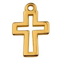 Metallanhänger Kreuz, 11 x 15 mm, vergoldet