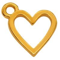 Metallanhänger Minicharm Herz, 11,5 mm, vergoldet