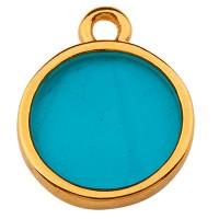 Metallanhänger Rund, 11,5 mm,  Vitraux, Glasfarbe: türkis, vergoldet