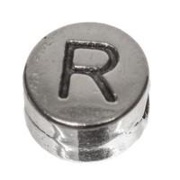 Metallperle, rund, Buchstabe R, Durchmesser 7 mm, versilbert