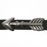 Metallperle Mini-Slider Pfeil, versilbert, 24,0 x 8,0 mm, Durchmesser Fädelöffnung:  5,2 x 2,0 m