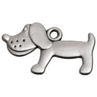 Metallanhänger Hund, ca. 23 x 14 mm, versilbert
