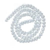 Strang Glasfacett  Rondell, 4 x 6 mm, shiny crystal AB, Länge des Strangs ca. 40 cm