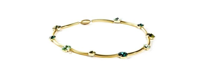 Goldige Ketten mit Swarovski Rivoli Emeraldgrün