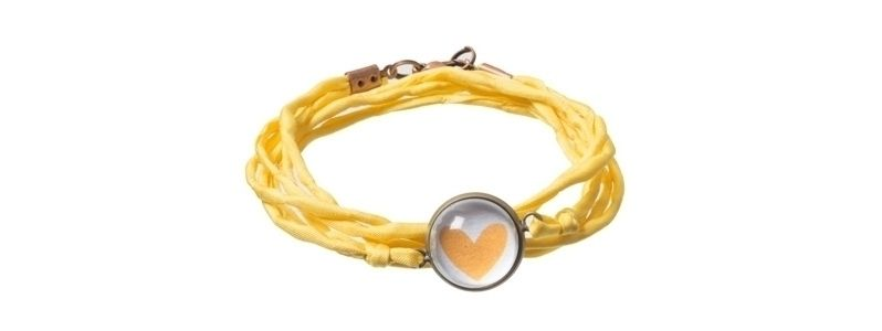 Scrapbookarmband Gelbes Herz