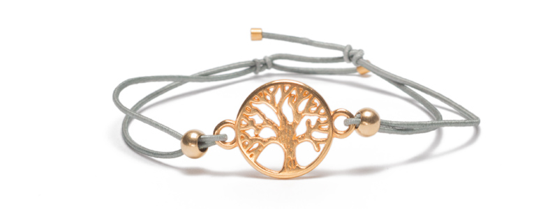 Armband mit Armbandverbinder und Gummiband Baum vergoldet