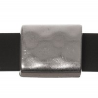 Metallperle Slider / Schiebeperle Viereck, versilbert, ca. 15,5 x 13,5 mm