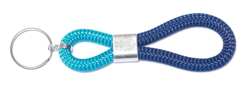 Schlüsselanhänger aus Segelseil Anker Dunkelblau-Hellblau
