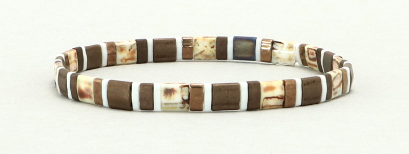 Elastisches Armband mit Tila-Perlen Mix Pebbles