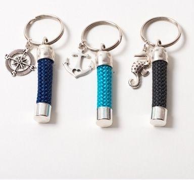 Schmuckideen für Schlüsselanhänger aus Segelseil und Endkappen