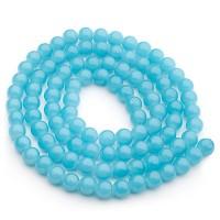Glasperlen, Jadelook, Kugel, aqua, Durchmesser 4 mm, Strang mit ca. 200 Perlen
