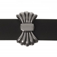 Metallperle Slider / Schiebeperle Schleife, versilbert, ca. 16,5 x 9,5 mm