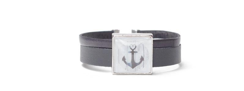 Armband mit viereckigem Glascabochon Anker