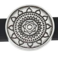 Metallperle Slider Mandala, versilbert, ca. 20 mm