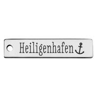Edelstahl Anhänger, Rechteck, 40 x 9 mm, Motiv: Heiligenhafen, silberfarben