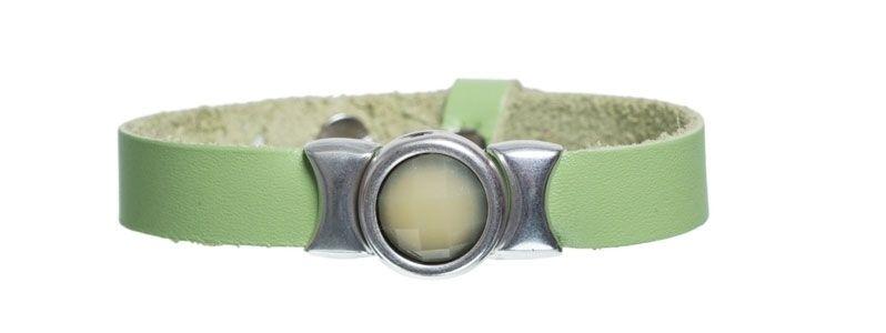 Leder-Armband mit Sliderperlen einfach Limone