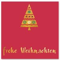 """Schmuckkarte """"Frohe Weihnachten"""", rot mit Tannenbaum, quadratisch, Größe 8,5 x 8,5 cm"""