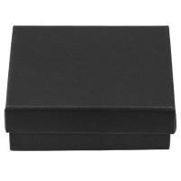 Schmuckschachtel mit Schaumstoffinlet, rechteckig, schwarz, 9 x 9 x 2,8 cm