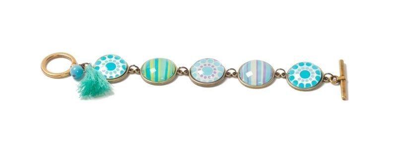 Boho-Armband mit Glascabochons Türkis