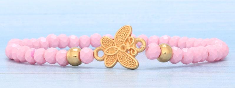 Frühlingsarmband mit Schmetterling und Facettperlen