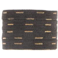 Denim Baumwollband, schwarz mit goldfarbenem Decor, 10 x 2 mm, Länge 1 m