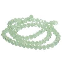 Strang Glasfacett  Rondell, 4 x 6 mm, hellgrün opak AB, Länge des Strangs ca. 40 cm