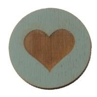 Holzcabochon, rund, Durchmesser 20 mm, Motiv Herz, hellblau