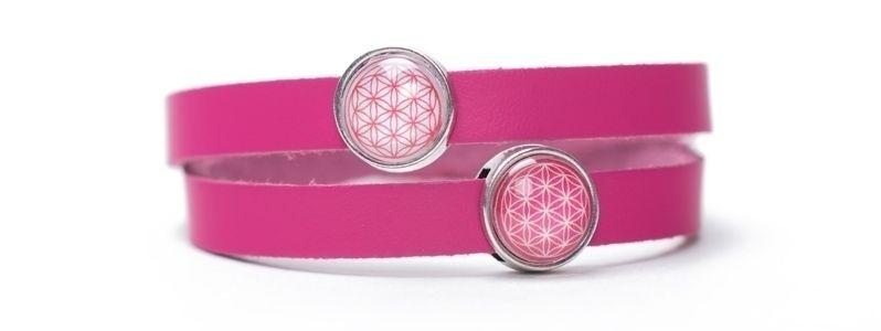 Wickelarmband mit Blume des Lebens Motiv und Slidern Pink