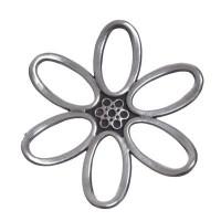 Metallanhänger, Blume, 48 mm, versilbert
