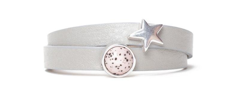 Armband mit Screws und Polaris Sassi Cabochon Hellgrau