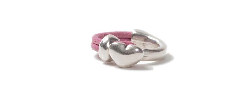Metall Ring Herz Rosa