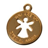 Metallanhänger Engel, 22 x 18 mm, vergoldet