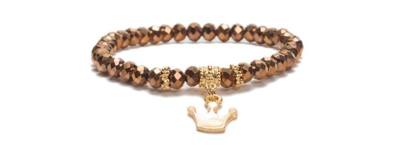 Armband mit Glasfacettrondellen Metallic Rose Gold