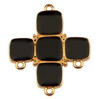 Metallanhänger Kreuz mit drei Ösen,34 x 28 mm, schwarz emailliert, vergoldet