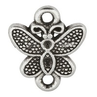 Armbandverbinder Schmetterling, 12 x 9 mm, versilbert
