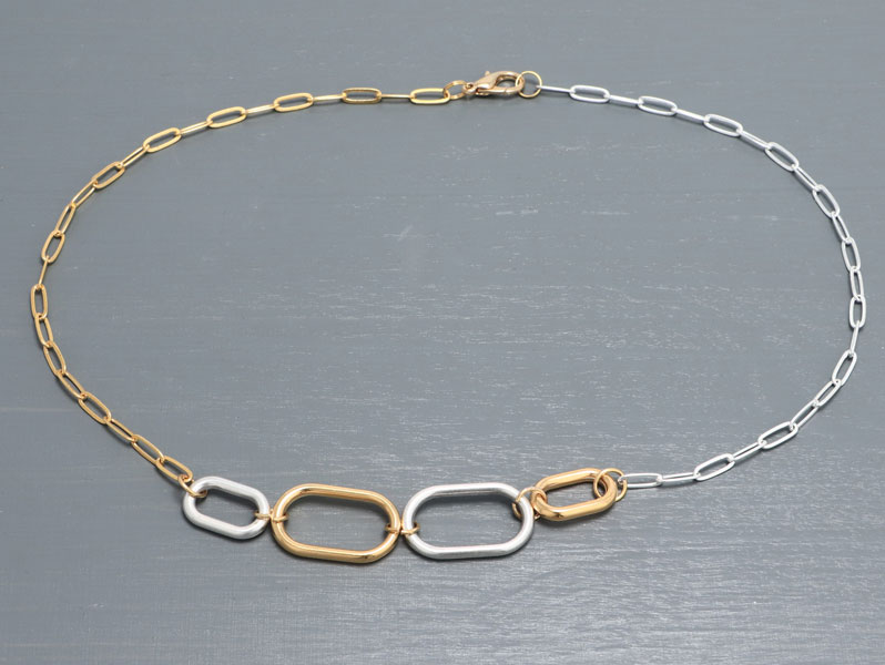 New Geometric - Kurze Geometrische Halskette Bicolor