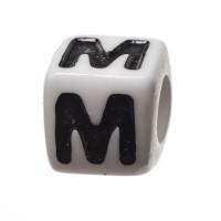 Kunststoffperle Buchstabe M, Würfel, 7 x 7 mm, weiß mit schwarzer Schrift