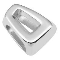 Metallperle für Bänder mit 5 mm Durchmesser, Trape, 16 x 13 mm, versilbert
