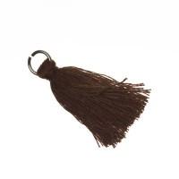 Quaste/Troddel, 25 - 30 mm, Baumwollgarn mit Öse (silberfarben), dunkelbraun