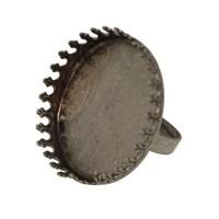 Fingerring mit Schale für runde Cabochons/Glaskugeln 30 mm, antiksilberfarben