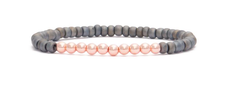 Armband mit rosevergoldeten Perlen Kugeln und Rocailles
