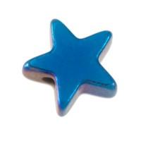 Hämatitperle, Stern, 6 x 6 mm, blau metallic galvanisiert
