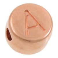 Metallperle, A Buchstabe, rund, Durchmesser 7 mm, rosevergoldet