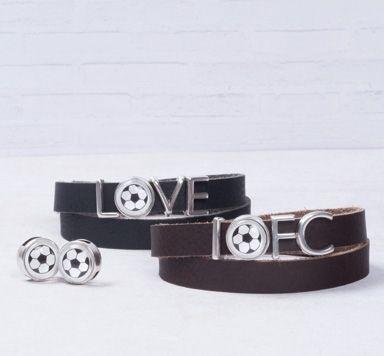 Wickelarmbänder Fußballliebe mit Buchstabenslidern