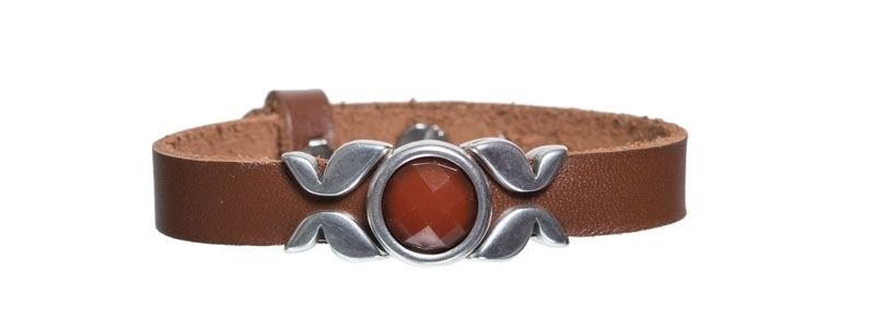 Leder-Armband mit Sliderperlen einfach Braun