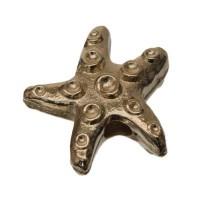 Metallperle Seestern, 13 x 13 mm, vergoldet